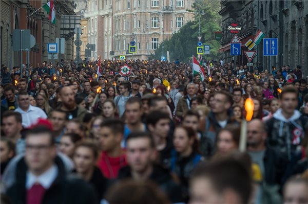 Torchlight March Commemorating 1956 Revolution Held In Budapest