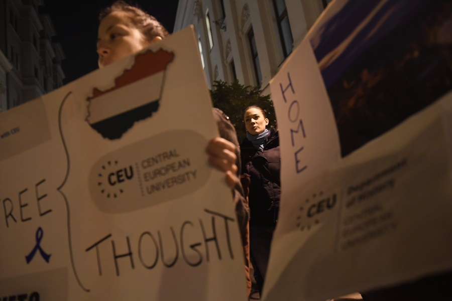 Opposition Momentum Protests In Support Of CEU In Budapest
