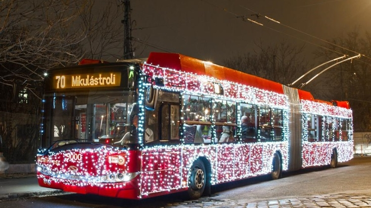 Santa's Trolleybus Creating Joy Around Budapest