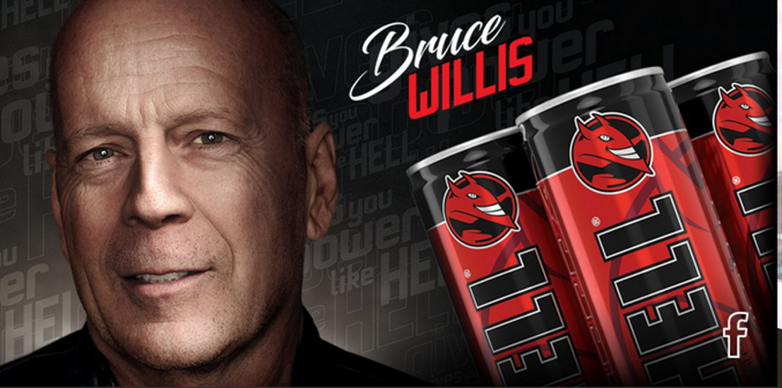 Bruce Willis Promotes Hungarian Energy Drink Hell