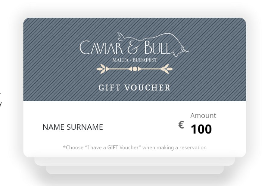 Celebration Gift Vouchers From Caviar & Bull Restaurant