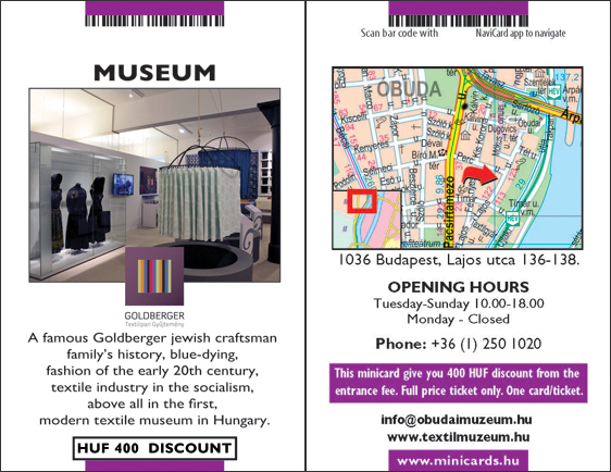 Save 400 HUF To Goldberger Museum With Minicards