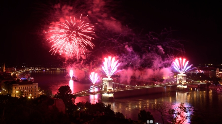 Spectacular Fireworks Display On Hungary's National Holiday