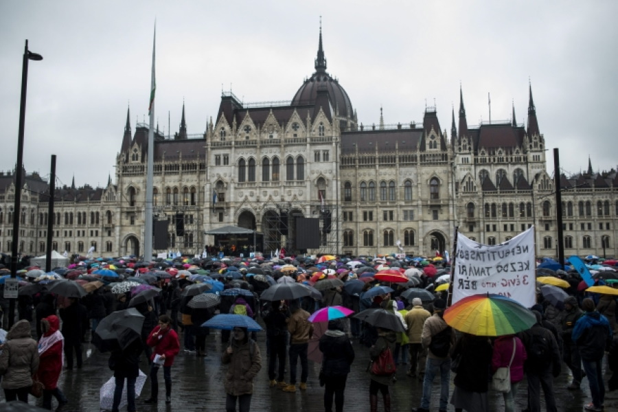 Big Teacher's Protest In Budapest