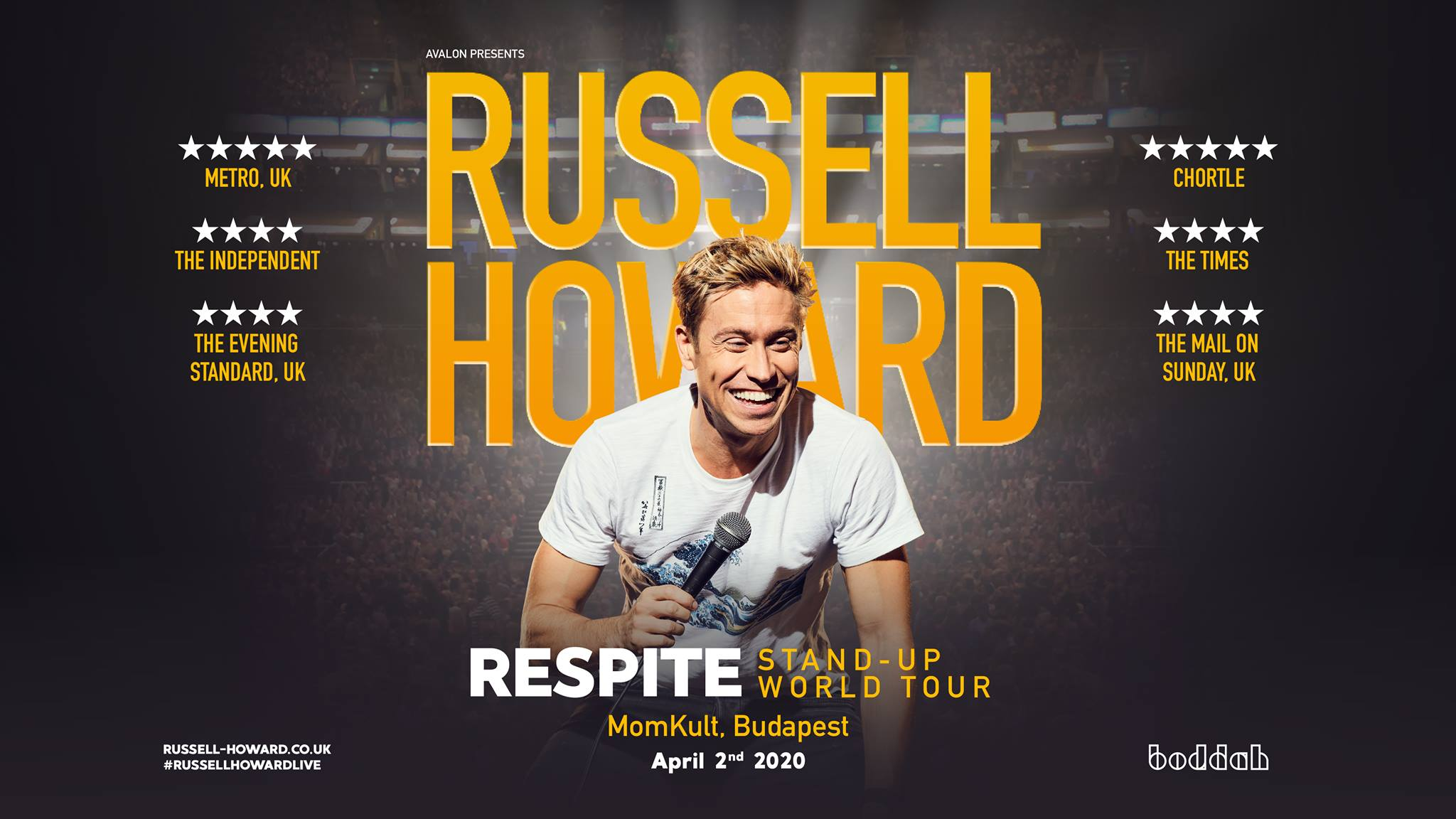 Russell Howard's 'Respite Comedy Show', Budapest, 2 April