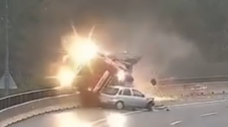 Video: Hungarian Truck Tumbles Off The Highway