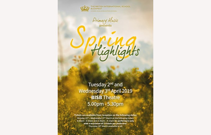 Save The Date: BISB Primary 'Spring Highlights' Concert, 2 & 3 April