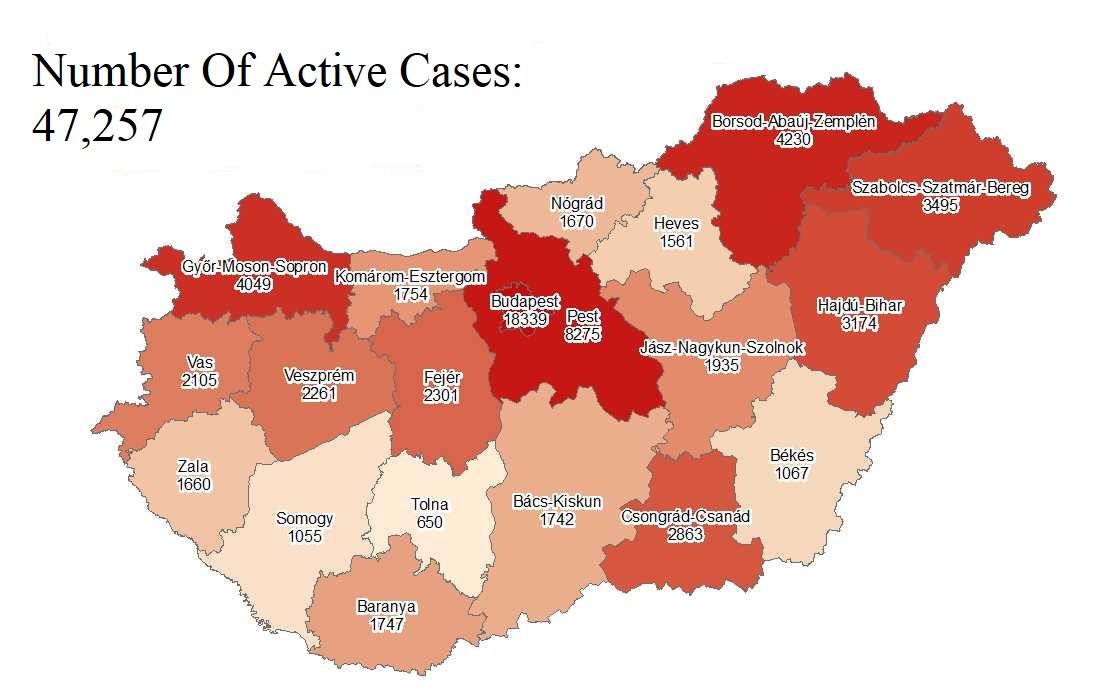 Coronavirus: Active Cases Stand At 47,257 With 43 New Deaths In Hungary