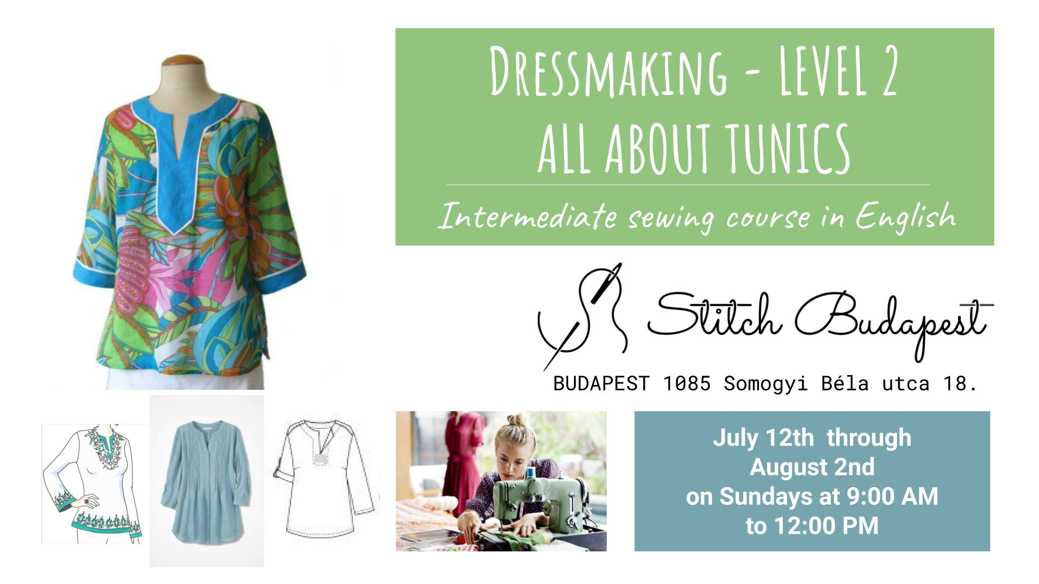 Dressmaking Workshop In English - Level 2: All AboutTunics Intermediate Sewing