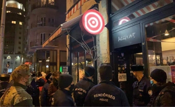 Police Close Bar As Crowd Gathers At Budapest Square