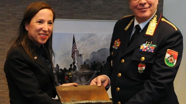 Hungarian Firefighters Receive WTC Steel From U.S. Ambassador