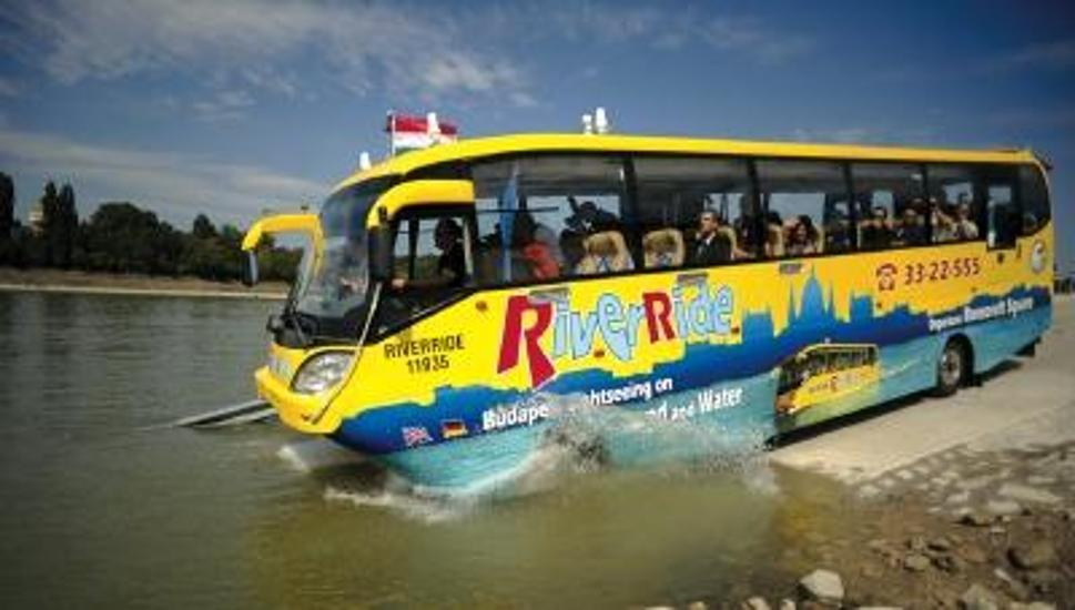 Amphibious Budapest Bus Stranded In Danube