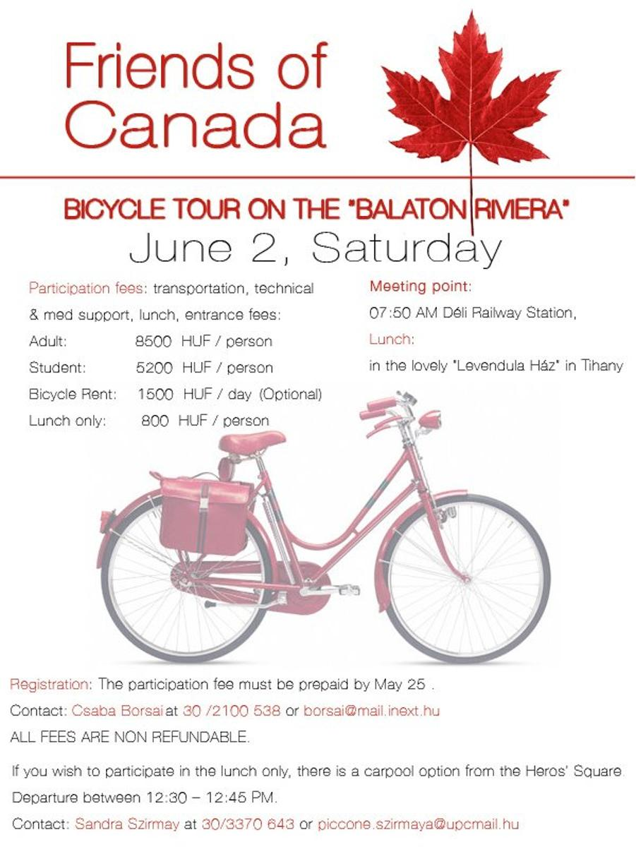 Date Change: Friends Of Canada In Hungary - Bike Tour At Lake Balaton, 2 June