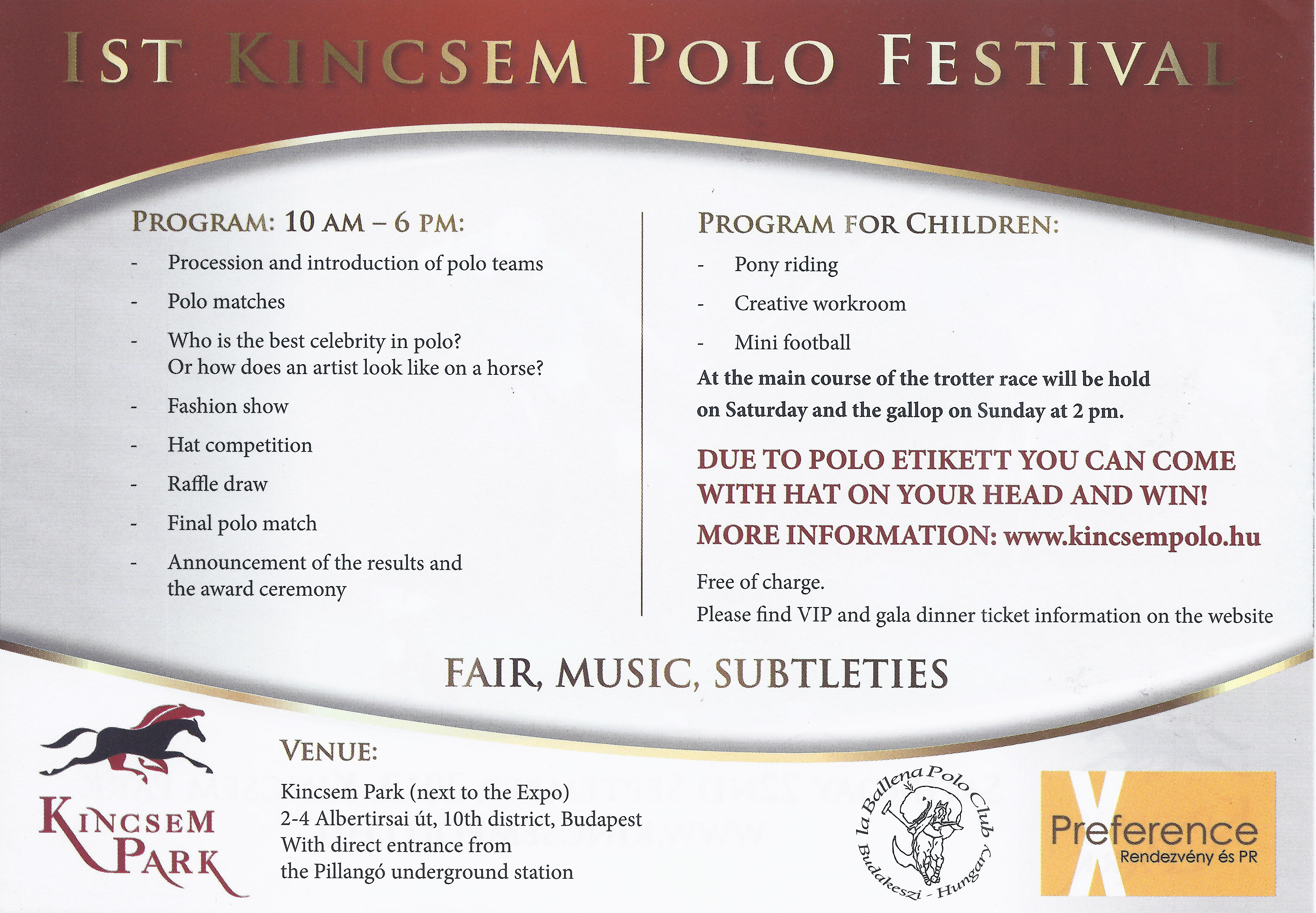 Updated: Kincsem Polo Festival, Budapest - Cancelled