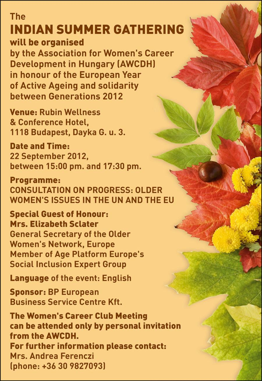 Invitation To An Indian Summer Gathering, Budapest, 22 September