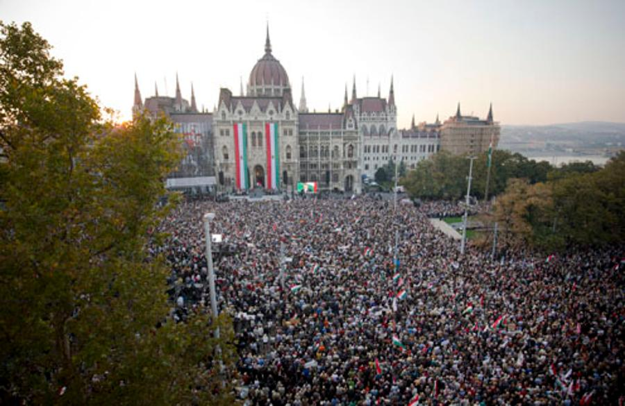 More Than 400.00 People Attended The PM's Speech At Kossuth Square In Budapest