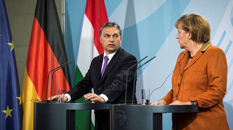 Joint Press Briefing Held In Berlin By Hungarian PM & German Chancellor