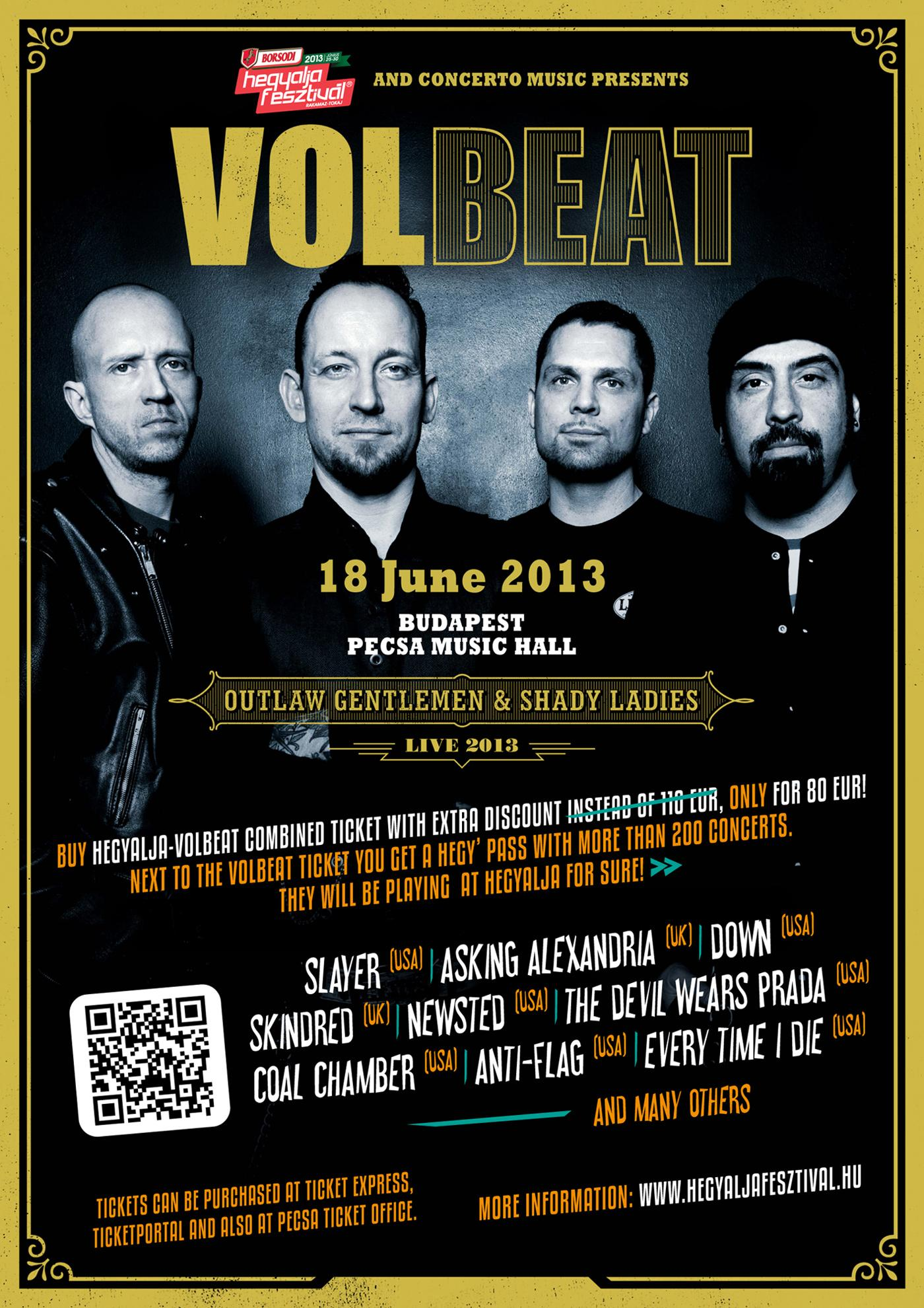 Volbeat & Hegyalja Festival Combined Tickets For 35 Euro Off