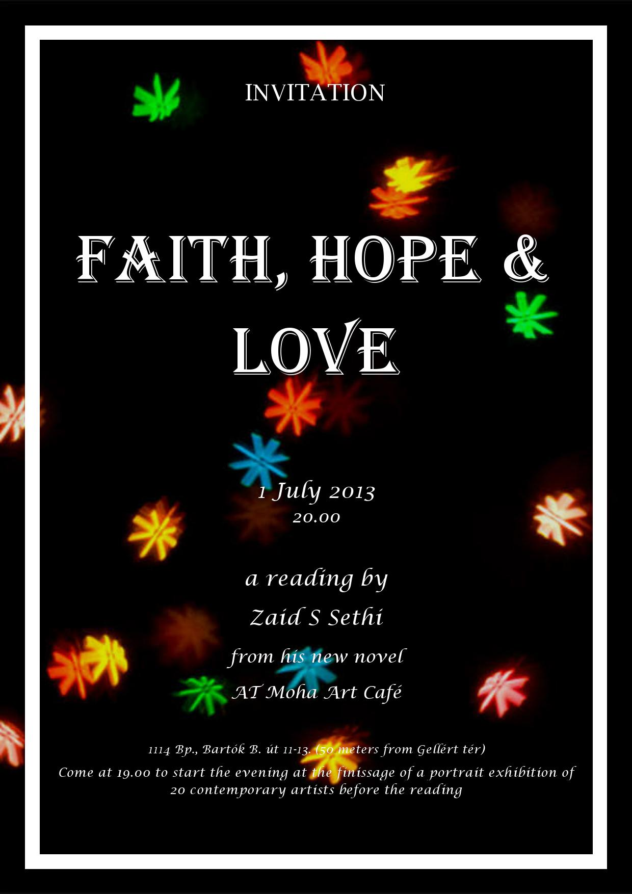 Invitation: 'Faith, Hope & Love' Book Reading, Moha Café Budapest, 1 July