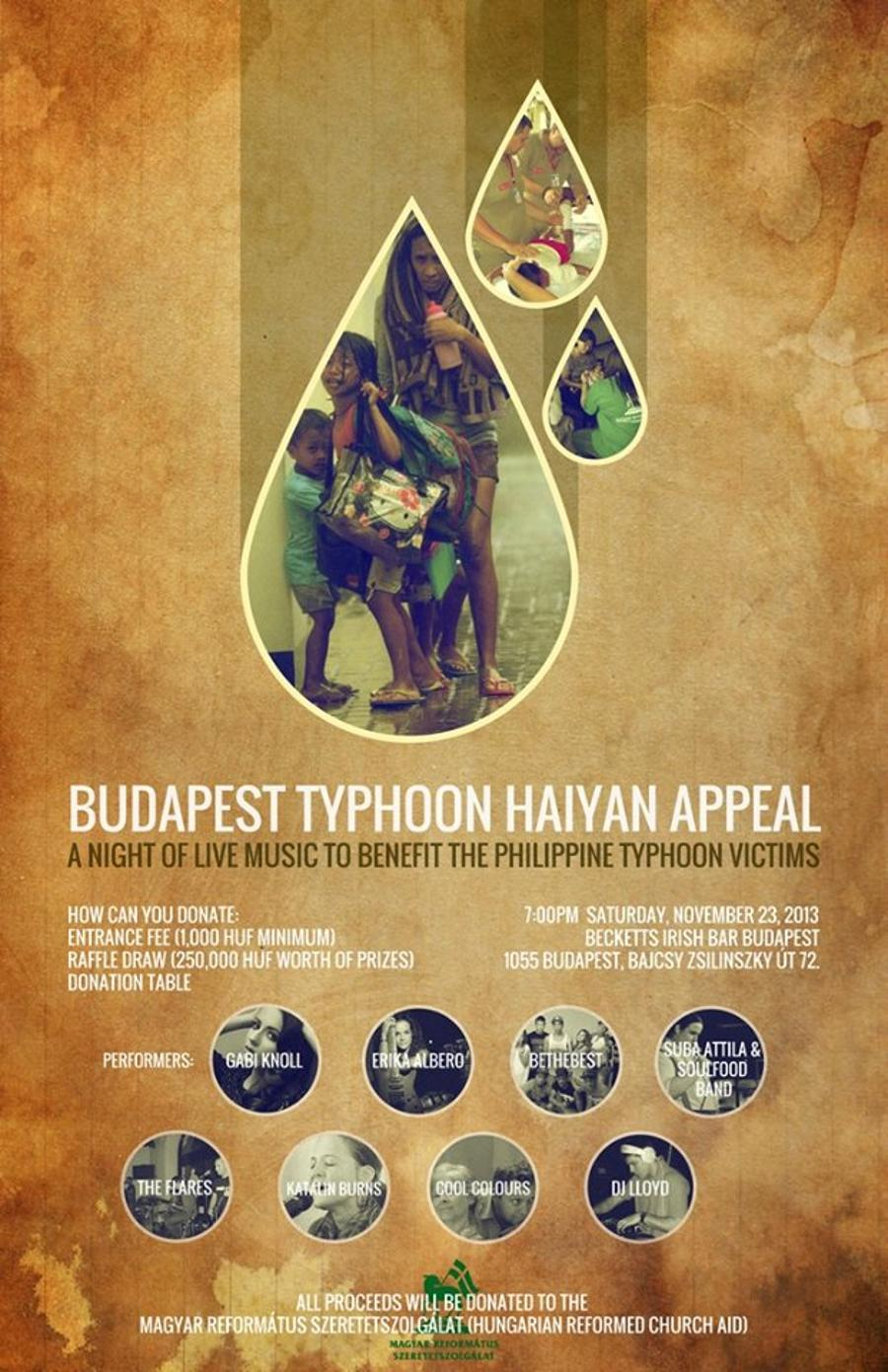 Budapest Typhoon Haiyan Appeal Concert, Becketts, On Saturday 7pm