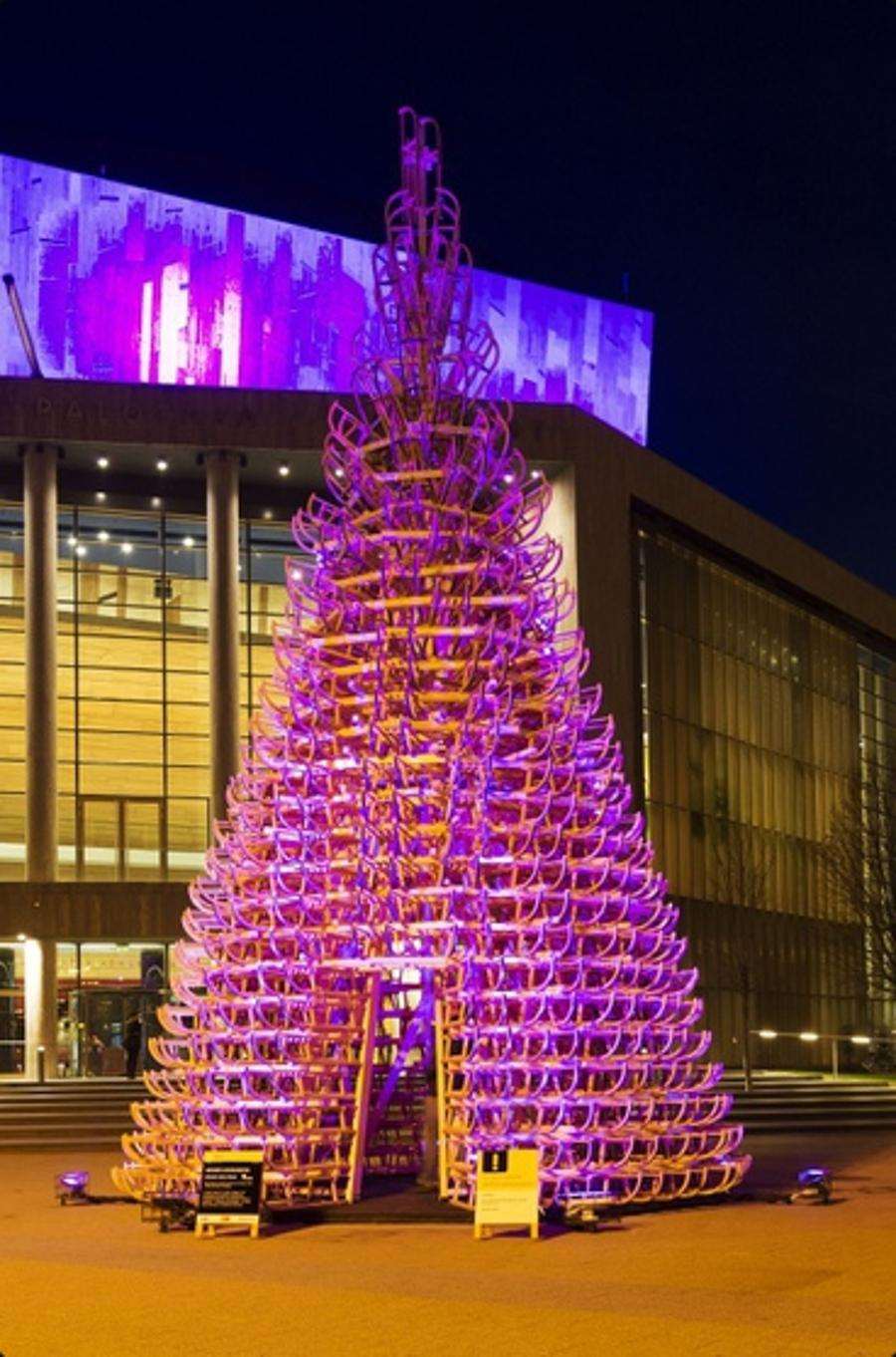 Now On: Hello Wood Christmas Installation, Palace Of Arts Budapest