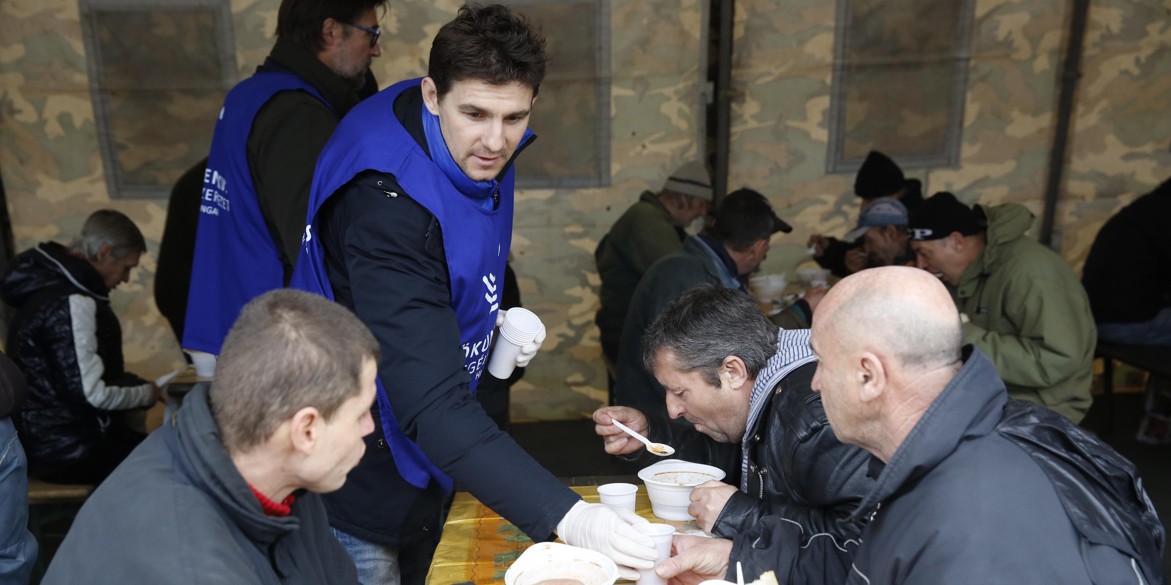 Hungarian Football Players Distribute Hot Meals