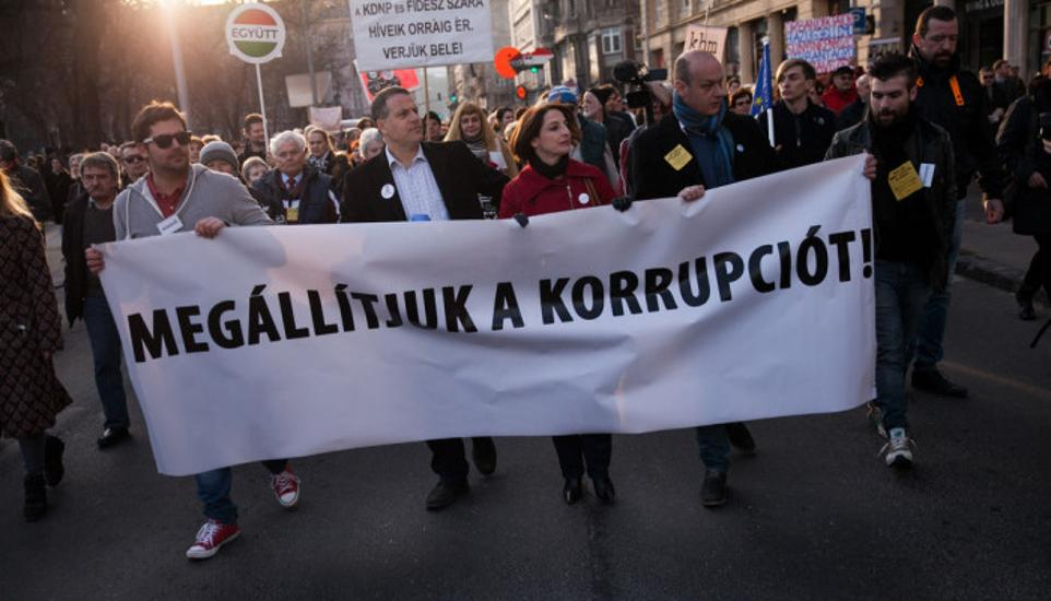 Thousands March In Budapest Against Corruption