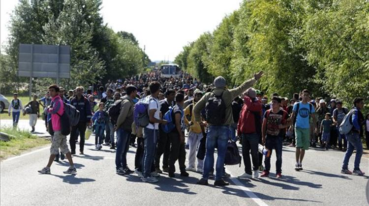 New Wave Of 200-250 Migrants Leave Röszke In Hungary