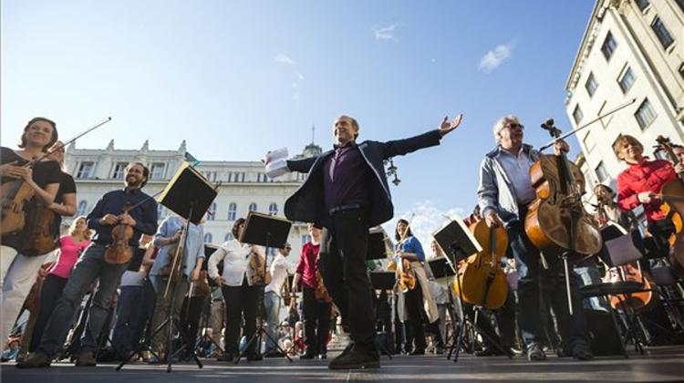 Budapest Festival Orchestra Stages Musical Demonstration In Downtown Budapest
