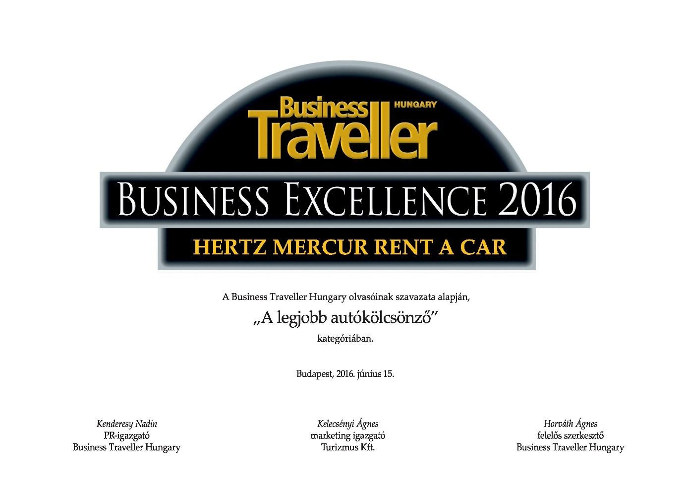 Hungarian Business Excellence Award For Hertz Rent A Car