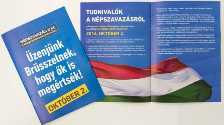 """We Must Stop Brussels!"" Referendum Booklet Warns Hungarians"