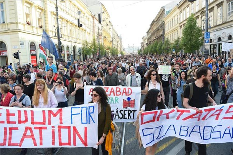 Huge Demonstration For CEU Held In Budapest